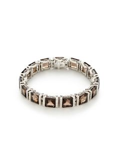 Deco Small Smoky Quartz & Diamond Square Station Bracelet by Garrard on Gilt.com