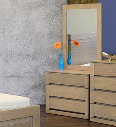 Estela Dresser-Mirror Set in Artisan Oak Finish by CasaCraft