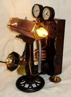 OOAK Steampunk LAMP machine age UPCYCLED victorian vintage industrial
