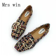84a846197 |Для женщин обувь на плоской подошве Демисезонный квадратный носок  металлические кнопки слипоны балетки на плоской подошве женские мокасины;  ...