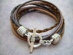 Mens Leather Bracelet Four Strand Double by UrbanSurvivalGearUSA