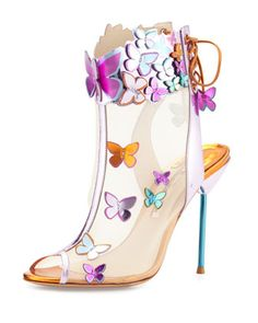 Harmony Mesh 3D Butterfly Bootie, Rosa/Turquoise/Orange by Sophia Webster at Neiman Marcus.
