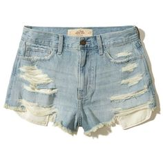 Hollister High-Rise Denim Vintage Shorts ($50) ❤ liked on Polyvore featuring shorts, ripped medium wash, high waisted ripped shorts, distressed shorts, frayed denim shorts, floral shorts and denim shorts