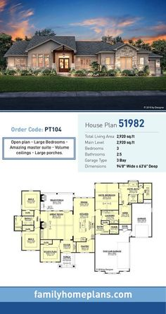 Tuscan Style House Plan 51982 with 3 Bed, 3 Bath, 3 Car Garage Bungalow House Plan 51982 Bungalow Homes, Bungalow House Plans, Bungalow House Design, Ranch Style Homes, Ranch House Plans, Craftsman House Plans, Bedroom House Plans, Craftsman Porch, Ranch Floor Plans