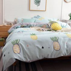 Kids Magic Mint Yellow and White Pineapple Print Stylish Cartoon Themed Cute Style Twin, Full, Queen Size Bedding Sets Girls Bedroom Sets, Big Bedrooms, Small Room Bedroom, Childrens Bedroom, Kids Bedroom, Bedroom Plants, White Bedroom, Nursery Room, Kids Rooms