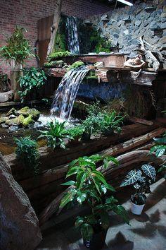 Backyard waterfall idea and landscaping design.