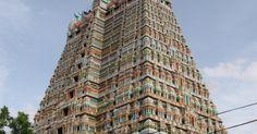 O templo hindu Sri Ranganathaswamy, na Índia, tem 631 mil m² dedicados ao deus Vishnu. A construção corresponde a cinco vezes a área do estádio do Maracanã.  Fotografia: Wikipedia/Reprodução.