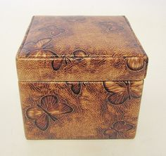 Faux Leather and Suade Jewelry Box Butterfly Embossed Motif #Unknown #Resemblesawoodcut