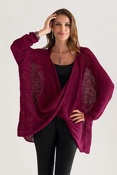 Long Sleeve Twist Front Sweater: Amy Brill: Knit Sweater - Artful Home
