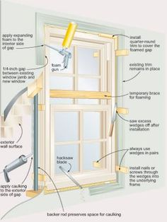 """Your Own Windows - DIY """"Install Your Own Windows"""" Reduce the cost of new windows by putting them in yourself.""""Install Your Own Windows"""" Reduce the cost of new windows by putting them in yourself. Remodeling Mobile Homes, Home Remodeling, Home Renovation, Home Improvement Projects, Home Projects, Home Fix, Diy Home Repair, House Windows, Diy Windows"""