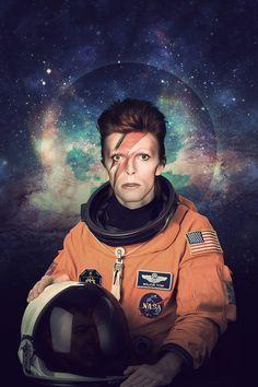 David Bowie Astronaut Poster