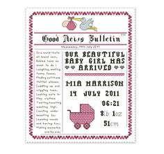 birth announcement cross stitch pattern newspaper style name sampler with poem, personalize.
