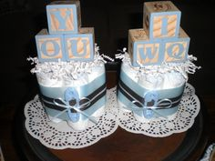 Baby Block Diaper Cake baby shower centerpieces Navy and Baby Blue other colors and sizes too Baby Shower Cake Sayings, Baby Shower Cake Pops, Baby Shower Table, Baby Shower Cookies, Baby Shower Signs, Baby Boy Shower, Baby Showers, Blackberry Cake, Cake Sizes