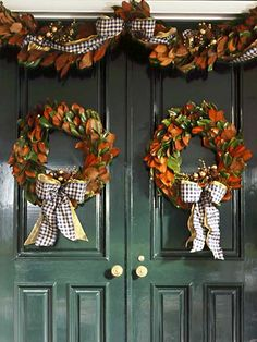 Wish...wish...I lived south enough for magnolia leaves...beautiful entrance