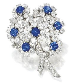A Tiffany & Co. diamond and sapphire bouquet brooch