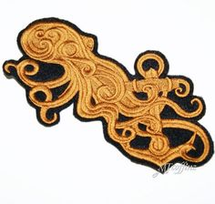 Brass SteamPunk Octopus Anchor Iron On Embroidery Patch MTCoffinz lg