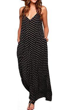 b3b3561cba LILBETTER Women Boho Backless Long Maxi Evening Party Dress Beach Sundress  (Black
