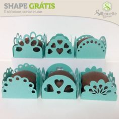 Mini candy boxes by Silhouette Brasil --Free Studio-- Shape Gratis Silhouette, Silhouette Cameo Boxes, Plotter Silhouette Cameo, Silhouette Cutter, Silhouette Cameo Tutorials, Silhouette Projects, Diy Arts And Crafts, Paper Crafts, Free Shapes