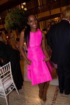 Tika Sumpter's Alvin Ailey American Dance Theater Opening Night Chado Ralph Rucci Spring 2013 Hot Pink Cocktail Dress and Manolo Blahnik Pumps