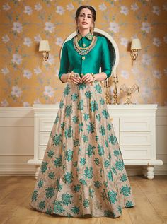 Siya Fashion Teal Green Printed Skirt With Top & Cape Indian Fashion Dresses, Indian Gowns Dresses, Dress Indian Style, Indian Designer Outfits, Indian Outfits, Indian Skirt And Top, Fashion Outfits, Long Skirt Fashion, Long Skirt Outfits