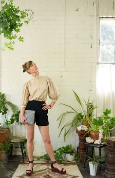 Voluminous sleeve silk blouse High-waisted black wool shorts Lyon Falls Summer 2014 Lookbook lyonfalls.com