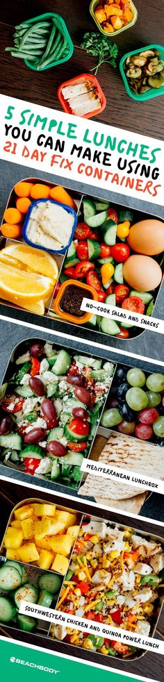 Lunchtime is about to get a whole lot easier, healthier, and darn delicious! Simply combine a few healthy ingredients using your 21 Day Fix containers to make inspired meals that will keep you satisfied all afternoon. // meal prep // meal planning // 21 day fix // 21dayfix // 21df // lunch // lunch combos // bento boxes // fresh food // healthy eating // healthy // clean eating // Beachbody // BeachbodyBlog.com