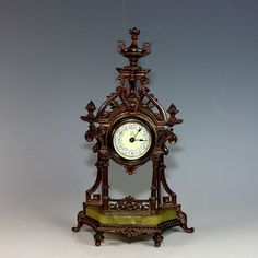 Antique French Mantle Clock with Porcelain Dial and Onyx Base