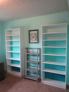 ikea billy back painted ombre blue