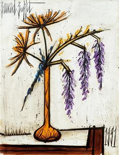Bernard Buffet - Dahlias and Wisteria; Creation Date: 1991; Medium: Oil on canvas; Dimensions: 25.59 X 19.69 in (65 X 50 cm)