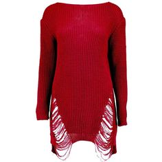 Boohoo Mia Distressed Oversized Jumper   Boohoo (€23) ❤ liked on Polyvore featuring tops, sweaters, ripped tops, over sized sweaters, red sweater, distressed top and torn sweater