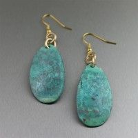 Blue-Green Patinated Copper Drop Earrings. Timeless guaranteed flattery   http://www.ilovecopperjewelry.com/blue-green-patinated-copper-drop-earrings.html  $45.00