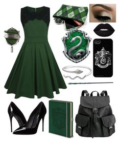 """Slytherin Head Girl"" by darkangel707 on Polyvore featuring WithChic, Lime Crime and Dolce&Gabbana"
