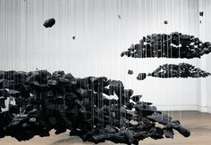 Bahk Seon Ghi- Panorama: Existence Staircase (2007), charcoal suspended on nylon thread