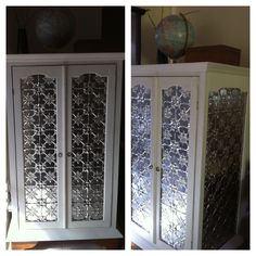 Cupboard Make over. Timber cupboard with trellis doors & sides was painted & trellis replaced with pressed metal panels