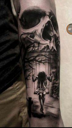 Skull and swing tattoo - diy tattoo images Cute Small Tattoos, Little Tattoos, Trendy Tattoos, Tattoos For Guys, Tattoos For Women, Demon Tattoo, Tattoo On, Diy Tattoo, Tattoo Kits