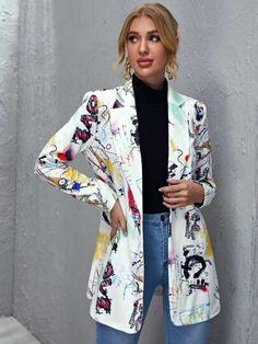WishList | ROMWE Blazers For Women, Coats For Women, Jackets For Women, Pop Art, Plus Size Cardigans, Creation Couture, Printed Blazer, Blazer Buttons, Elegant Woman