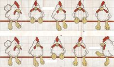 Schema punto croce Galline In Fila