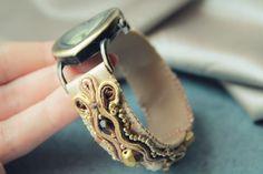 Soutache watch, leather, custom-made