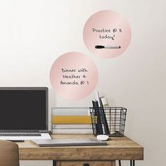 Just peel and stick these rose gold dry-eraser dots to your wall and you are ready to organize in style.  These dots are great for dorm rooms and offices, for they are safe for walls and come off clea