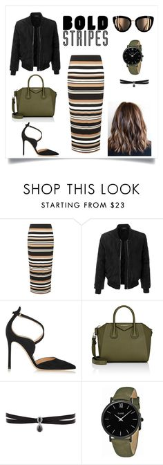 """""""Bold Stripes Fashion"""" by seydaabozkurtt ❤ liked on Polyvore featuring mel, LE3NO, Gianvito Rossi, Givenchy, Fallon and CLUSE"""