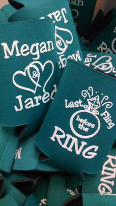 Joint bachelor/bachelorette party!  Last fling before the ring!  Love it! www.kustomkoozies.com Use discount code Pinterest for 15% off #lastfling #bacheloretteparty #bachelorparty #kustomkoozies