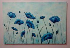 Título: Jardim Azul 80X120 - Óleo s/ Painel Artista Plástica Josilene de Oliveira Watercolor Poppies, Painting, Blue Garden, Oil On Canvas, Blue Nails, Artists, Flowers, Painting Art, Paintings