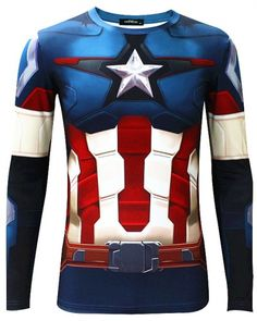 The Avengers 2 Captain America long sleeve t shirt for men