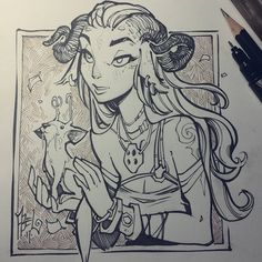 A quick little Faun and creature illustration done while out at lunch today. Hope you like her, she was a nice distraction.