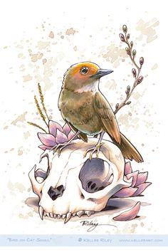 Bird on Cat Skull by KelleeArt