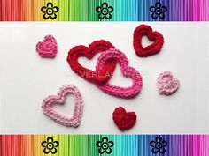 Valentine Heart Appliques  CROCHET PATTERN by EverLaughter on Etsy