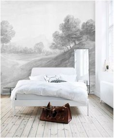 landscape mural wallpaper, modern bedframe, whitewashed hardwood floors, anewall