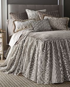 "Isabella Collection by Kathy Fielder Queen Castile Skirted Duvet Cover Original: $1,600.00    NOW: $800.00 FREE SHIPPING + FREE RETURNS Online Inquiries: NMS16_H819N Skirted duvet cover 60"" x 85"" with 30"" drop. Made of polyester and rayon. Dry clean. USA/imported."
