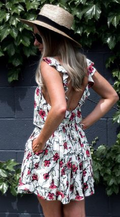 #summer #outfits  Round Hat + White Floral Open Back Dress