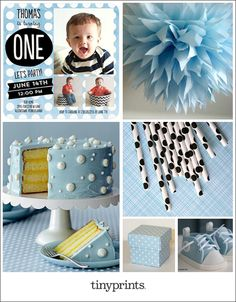 Celebrate baby's first birthday with a chic polka dot theme. Pastel blue and white is a tried and true color combination, and accents of black add a modern touch.